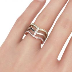 Tri-Tone Wavy Sterling Silver Women's Band