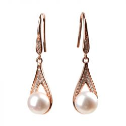 Rose Gold Tone Cultured Pearl Sterling Silver Earring Drops