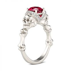 Bone Round Cut Sterling Silver Skull Ring