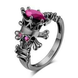 Jeulia Black Skeleton Skull Ring