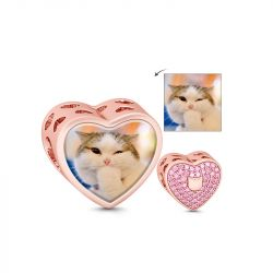 Rose Gold Heart Shape Photo Charm Sterling Silver