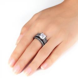 Black Vintage Princess Cut Sterling Silver Ring Set