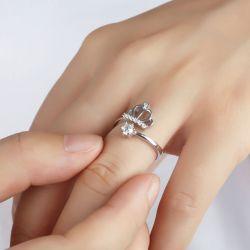Crown Design Sterling Silver Adjustable Ring
