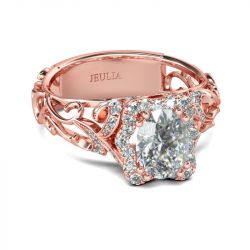 Rose Gold Tone Halo Oval Cut Sterling Silver Ring