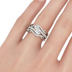 Two Stone Round Cut Sterling Silver 3PC Ring Set