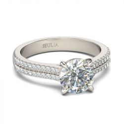 Jeulia  Exquisite Pave Round Cut Sterling Silver Ring
