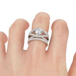 Twist Round Cut Sterling Silver Ring Set