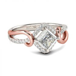 Two Tone Princess Cut Sterling Silver Ring