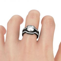 Black Tone 3PC Cushion Cut Sterling Silver Ring Set