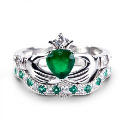 Crown Heart Cut Sterling Silver Claddagh Ring Set