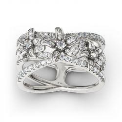 Split Shank Flower Sterling Silver Ring