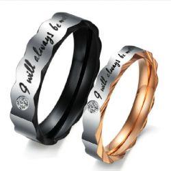 Iregular Titanium Steel Couple Ring