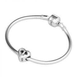 Footprint Heart Charm Sterling Silver