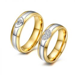 Two Tone Heart Titanium Steel Couple Rings