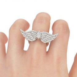 Angel Wings Pear Cut Sterling Silver Ring