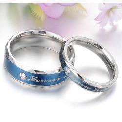Unique Blue Stone Titanium Steel Couple Ring