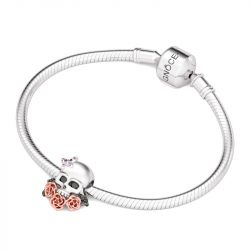 Skull With Roses Charm Sterling Silver