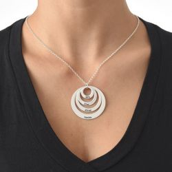 Four Disc Engraved Necklace Sterling Silver