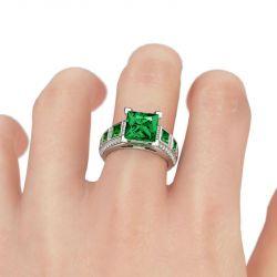 Vintage Princess Cut Sterling Silver  Ring