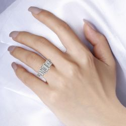 Three Stone Emerald Cut Sterling Silver Snake Ring
