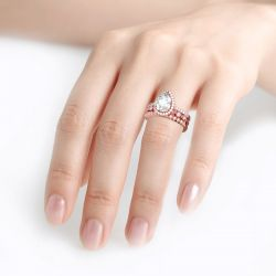 3PC Halo Pear Cut Sterling Silver Ring Set