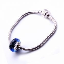 Dark Blue Faceted Glass Charm