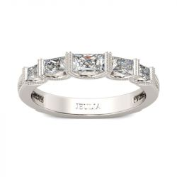 Milgrain Radiant Cut Sterling Silver Women's Band