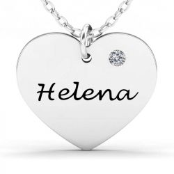 Heart Sterling Silver Engravable Necklace