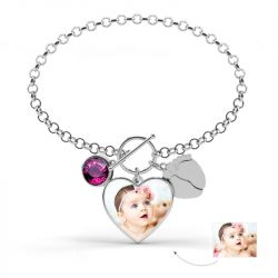 Heart Photo Personalized Sterling Silver Bracelet