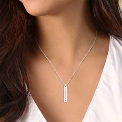 Vertical Bar Sterling Silver Engravable Necklace