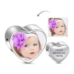 Heart Shape Engravable Charm Sterling Silver