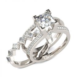 Geometrical Princess Cut Sterling Silver Ring Set