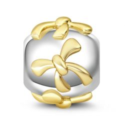Two Tone Bowknot 925 Sterling Silver Charm