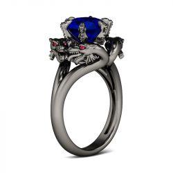 Jeulia  Black Tone Round Cut Sterling Silver Dragon Ring