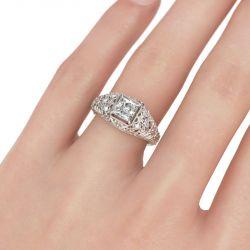 Blossom Asscher Cut Sterling Silver Ring