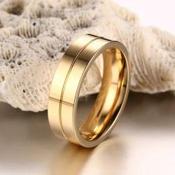 Gold Tone Couple Rings Titanium Steel