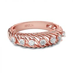 Rose Gold Tone Round Cut Sterling Silver Women's Band