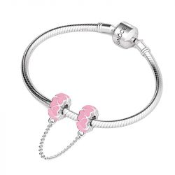 Pink Heart Safety Chain Sterling Silver