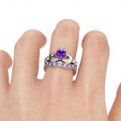 Jeulia Heart Cut Claddagh Ring Set