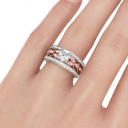 Two Tone Milgrain Round Cut Sterling Silver Ring
