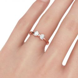 Bowknot Heart Cut Sterling Silver Ring