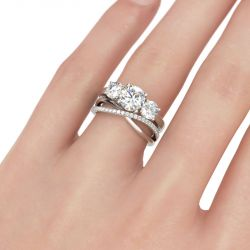 Three Stone Crossover Round Cut Sterling Silver Ring Set