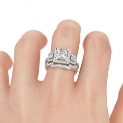 Halo Princess Cut Sterling Silver Ring Set