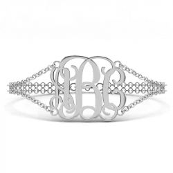 Double Chain Sterling Silver Monogram Bracelet