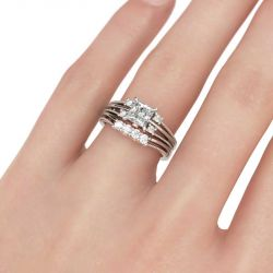 Two Tone Split Shank Princess Cut Sterling Silver Ring Set