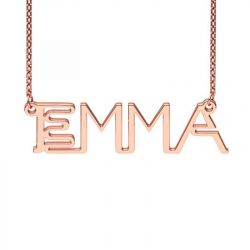 Rose Gold Tone Neon Style Name Necklace
