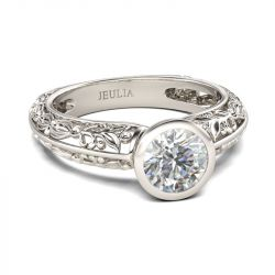 Jeulia  Leaf Design Round Cut Sterling Silver Ring