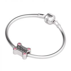 Dog Bone Charm Sterling Silver