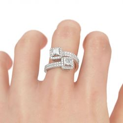 Two Stone Princess Cut Sterling Silver Ring