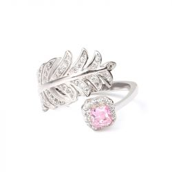 Feather Princess Cut Sterling Silver Adjustable Ring